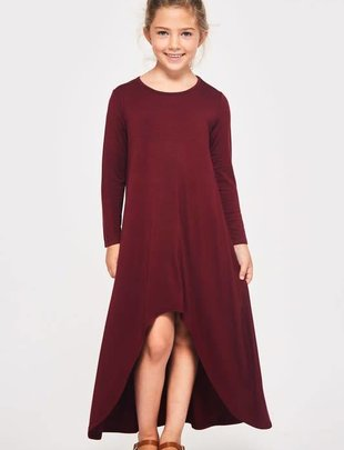 Kids Solid Hi Low Dress