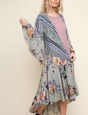 Sage Floral Paisley Bell Sleeve Kimono