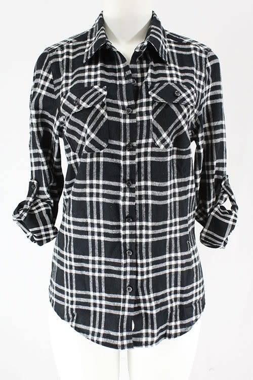 clothing of america Black/White Plaid Flannel Shirt