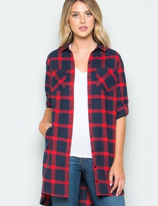 clothing of america Red/Blue Plaid Flannel Shirt