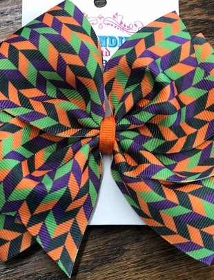 Blondie and Pearl XL Pinwheel Halloween Green Stripe Bow