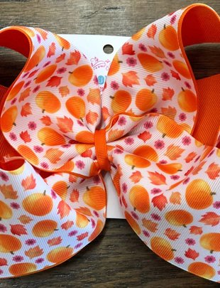 Blondie and Pearl TX Bout. Fall Pumpkin Layered Bow