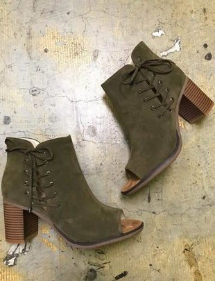 Olive Suede Lace Shoe