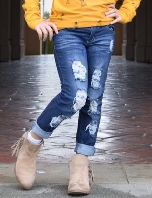 Little Girls Distressed Denim Jeans