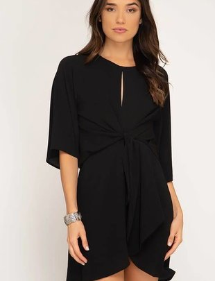 Black Keyhole Front Tie Dress