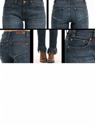 Womens Dark Wash Frayed Hem Skinny Jean