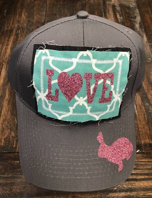 Back Road Beauties Grey Love Rabbit Cap