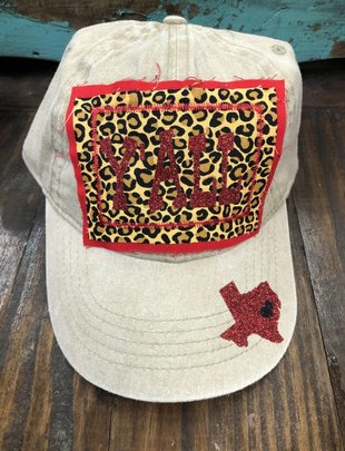 Back Road Beauties Leopard Yall Texas Cap