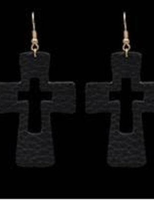 Black Leather Cutout Cross Earrings