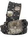 Black vintage with antique silver studs and square conchos belt