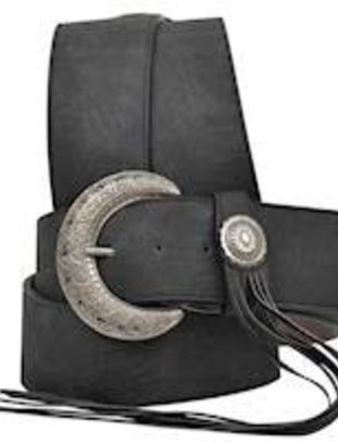 Wide Black Leather Tassel Belt