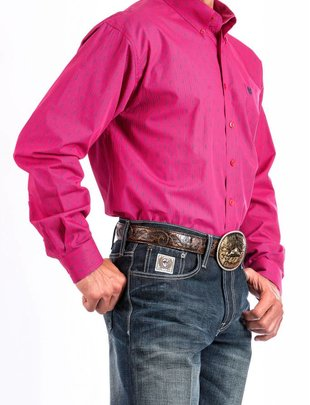 Miller Int'l Men's Cinch L/S Pink/Navy Print Shirt