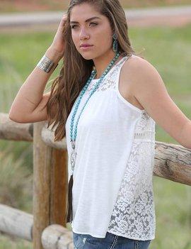 Miller Int'l White Lace Split Back Sleeveless Top