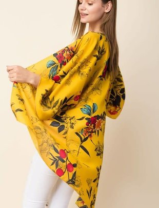 Ladies Plus Size Mustard Floral Cardigan