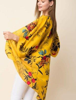 Lovely J Ladies Plus Size Mustard Floral Cardigan