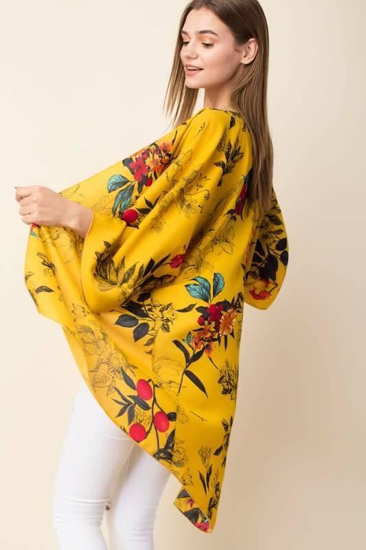 Ladies Plus Size Mustard Floral Cardigan