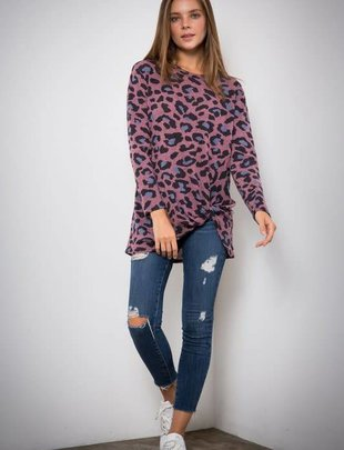 Ladies Mauve Leopard L/S Top