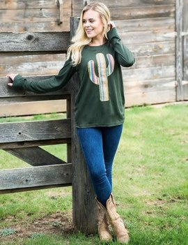 Aztec Cactus Patch on Olive L/S Tee