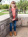 Southern Grace Girls' Harlee's Leopard Cardigan Elbow Patches