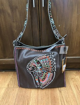 Brown Multi Color Indian Head Purse