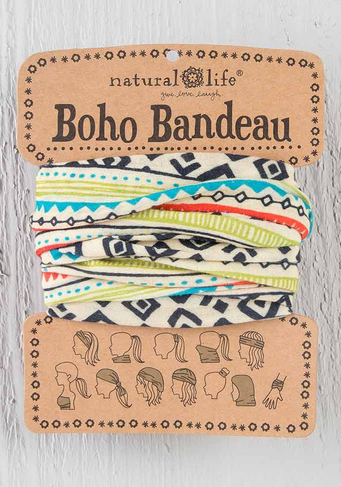 Boho Bandeau with Cream & Black Geometric Pattern