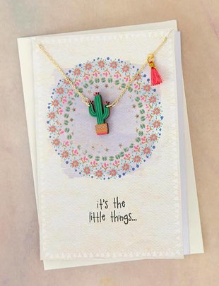 Cactus Necklace Greeting Card