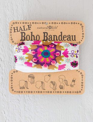 Cream Feathers Half Boho Bandeau