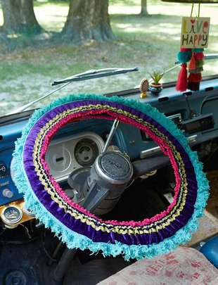 Purple Velvet Teal Fringe Steering Wheel Cover