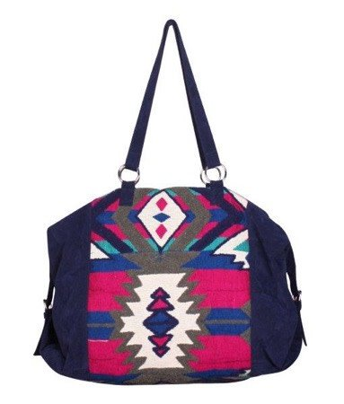 AMERICA & BEYOND Blue Graphite Embroidered Weekender