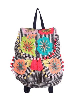 AMERICA & BEYOND Fanciful Floral Stripe Backpack