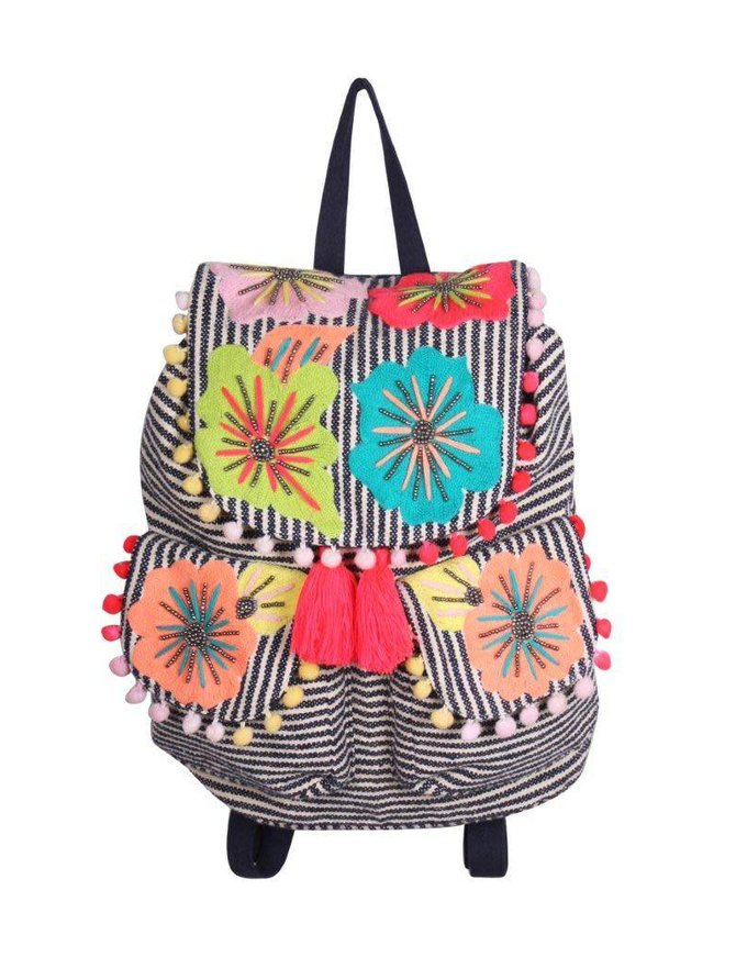 Fanciful Floral Stripe Backpack