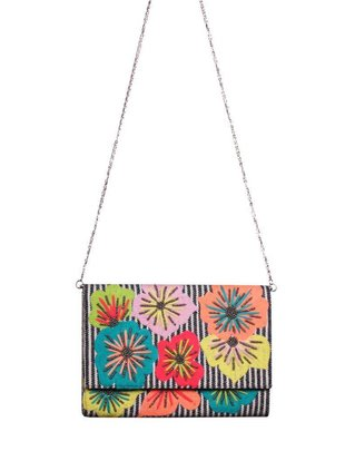 Fanciful Floral Stripe Clutch