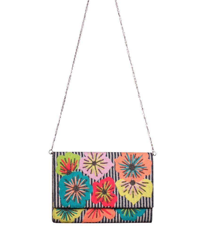Fanciful Floral Stripe Clutch