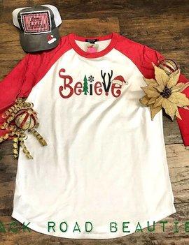Back Road Beauties Believe Christmas Red Baseball Sleeve