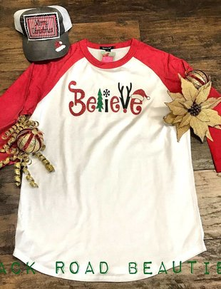 Back Road Beauties Believe Christmas Red Baseball Sleeve