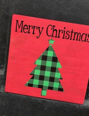 Back Road Beauties Merry Christmas Red Wooden Sign