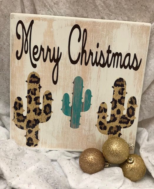 Back Road Beauties Merry Christmas Leopard Cactus Sign