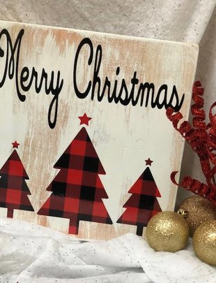 Back Road Beauties Merry Christmas Buffalo Plaid Sign