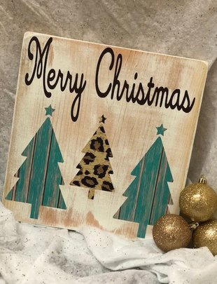 Back Road Beauties Merry Christmas W/ Turq Trees Wooden Sign