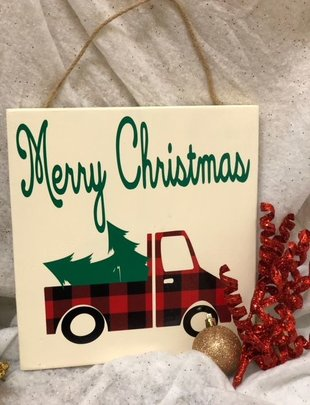 Back Road Beauties Merry Christmas Plaid Truck Sign