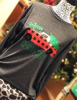 Back Road Beauties Plaid Truck W/ Christmas Tree L/S Tee