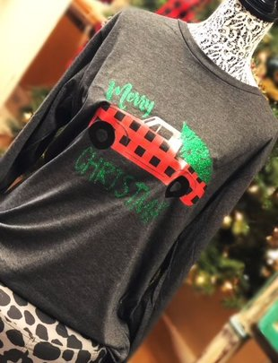 Back Road Beauties Plaid Truck W/ Christmas Tree L/S Tee
