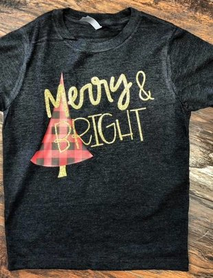 Back Road Beauties Kids Plaid Merry & Bright Tee