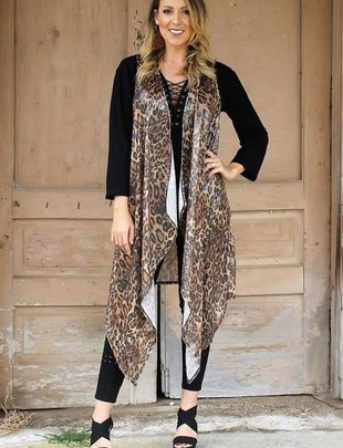 Long Sequin Leopard Cardigan