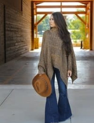 Vintage Wool Brown Poncho Sweater