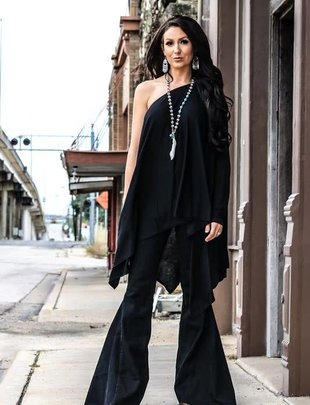 Black Asymmetric Hem One Sleeve Top