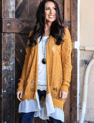 Mustard Crochet Lace Bottom Cardigan