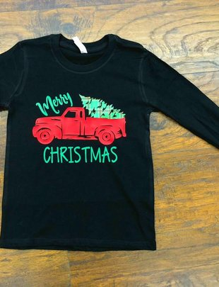 Back Road Beauties Kids Plaid Truck Christmas L/S