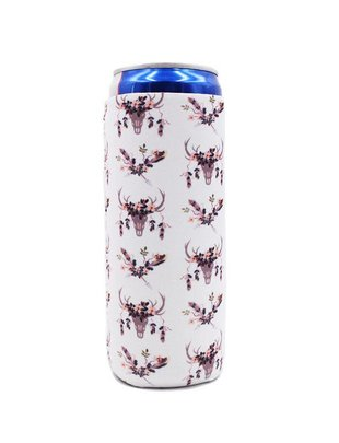Lit Can Coolers White Boho Slim Can Cooler