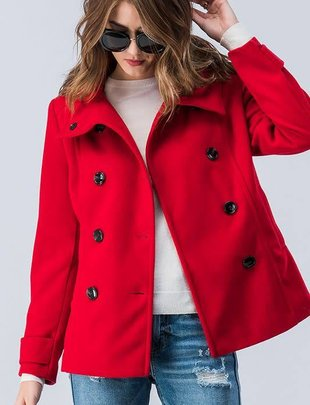 Red Collared Peacoat Jacket
